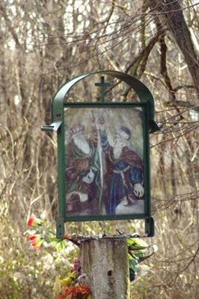 Detail pamätníka - sv. Kozma a Damián